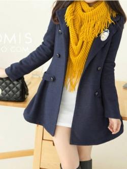 LADY DARK BLUE WOOLEN COAT [ เสื้อโค้ทกันหนาว ทรงหวานๆ สไตล์เกาหลี ] พร้อมส่ง