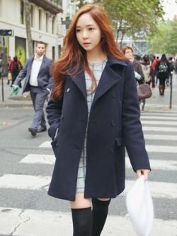 KOREA DARK BLUE WOOLEN COAT [ เสื้อโค้ทกันหนาว กระดุม 2 แถว สไตล์เกาหลี ] พร้อมส่ง